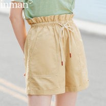 Casual pants Bean green light Khaki 28 25 29 26 27 30 Autumn 2020 shorts Straight pants High waist commute routine 25-29 years old 96% and above 180_ TM2090a Inman / Inman literature cotton Cotton 100%