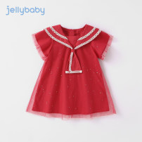 Dress bright red female jellybaby 80cm 90cm 100cm 110cm 120cm 130cm Other 100% summer princess Short sleeve other other A-line skirt JQG12823-3 other Summer 2021 12 months, 18 months, 2 years old, 3 years old, 4 years old, 5 years old, 6 years old