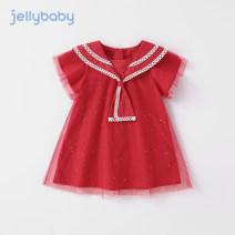 Dress bright red female jellybaby 80cm 90cm 100cm 110cm 120cm 130cm Other 100% summer princess Short sleeve other other A-line skirt JQG12823-3 other Summer 2021 12 months, 18 months, 2 years old, 3 years old, 4 years old, 5 years old, 6 years old