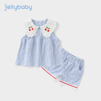 suit jellybaby Blue stripe 80cm 90cm 100cm 110cm 120cm 130cm female summer fresh Sleeveless + pants 2 pieces Thin money There are models in the real shooting Socket nothing stripe Pure cotton (100% cotton content) children Expression of love JT02-JL810V other Cotton 100% Summer 2021