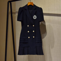 Dress Spring 2021 White, black S,M,L,XL Short skirt singleton  Short sleeve commute tailored collar middle-waisted Solid color double-breasted A-line skirt routine Others 25-29 years old Type A Imperial concubine language lady Inlaid diamond , fold , Button T4013135 More than 95% other