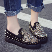 Low top shoes three billion five hundred and thirty-six million three hundred and seventy-three thousand eight hundred and thirty-nine Merlin Black red Round head Flat bottom Suede Shallow mouth Middle heel (3-5cm) PU Spring of 2018 Trochanter Europe and America Youth (18-40 years old) Solid color