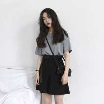 Women's large Spring 2020 Top + pants M [recommended 80-100 Jin], l [recommended 100-120 Jin], XL [120-140 Jin], 2XL [140-160 Jin recommended], 3XL [160-180 Jin recommended], 4XL [180-200 Jin recommended] Other oversize styles Two piece set commute easy moderate Socket Short sleeve Solid color shorts