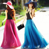 skirt Summer of 2018 One size fits all (gold Chiffon), one size all (ordinary Chiffon) longuette gorgeous High waist Fairy Dress Solid color 91% (inclusive) - 95% (inclusive) Chiffon other Ruffles, bright silk