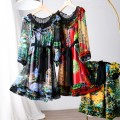 Dress Summer 2020 Blue flower, green flower, red flower, blue flower without lining M, L Middle-skirt Two piece set Nine point sleeve Crew neck Socket LY3667