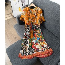 Dress Summer 2020 Mixed color flower S,M,L,XL Middle-skirt singleton  Short sleeve V-neck High waist Decor Socket LY3312 Silk and satin