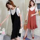 Dress Other / other Black suspender skirt + white T, brick red suspender skirt + white T M,L,XL,XXL Korean version Short sleeve Medium length summer Crew neck Solid color