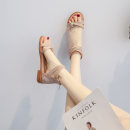 Sandals 34,35,36,37,38,39,40 Suede Other / other Barefoot Flat bottom Flat heel (1cm or less) Summer 2020 zipper Korean version Solid color Adhesive shoes Youth (18-40 years old) TPR (tendon) daily Bag heel Buckle, Roman style Low Gang Hollow Microfiber skin Microfiber skin Roman shoes Frosting