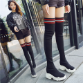 Boots 34 35 36 37 38 39 Black short black Wool Other / other High heel (5-8cm) Internal elevation Wool long and tube-shaped Round head Superfine fiber No interior Summer of 2018 Sleeve Korean version polyurethane Color matching Knee high boots Adhesive shoes Microfiber skin Youth (18-40 years old)