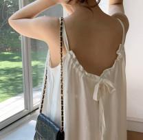 Dress Summer 2021 White, brick red Average size longuette singleton  Sleeveless commute V-neck camisole