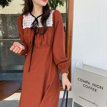 Dress Spring 2021 Black, orange Average size Mid length dress singleton  Long sleeves commute High waist Solid color 18-24 years old