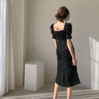 Dress Summer 2020 Red, apricot, black S, M longuette singleton  Short sleeve square neck High waist Solid color