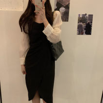 Dress Spring 2021 Black, khaki S, M Mid length dress Fake two pieces Long sleeves commute square neck High waist 18-24 years old