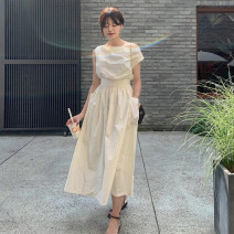 Dress Summer 2020 Off white Average size Mid length dress singleton  Sleeveless commute One word collar High waist Solid color 18-24 years old
