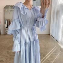 Dress Autumn 2020 Blue stripe, black stripe Average size Mid length dress singleton  Long sleeves commute V-neck Loose waist Solid color 18-24 years old