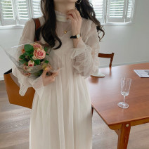 Dress Spring 2021 Two piece set Average size Mid length dress Two piece set Long sleeves commute High waist Solid color 18-24 years old