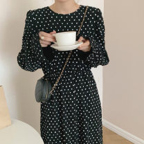 Dress Spring 2021 Apricot, black Average size Mid length dress singleton  Long sleeves commute Crew neck High waist Dot 18-24 years old