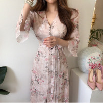 Dress Summer 2020 Pink S,M,L Mid length dress singleton  elbow sleeve V-neck High waist