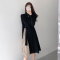 Dress Spring 2021 black Average size Mid length dress singleton  Long sleeves commute stand collar High waist routine Others 18-24 years old Type A Splicing More than 95%