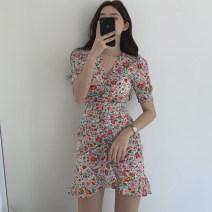 Dress Summer 2021 White, black S,M,L Short skirt singleton  Short sleeve commute V-neck High waist Socket