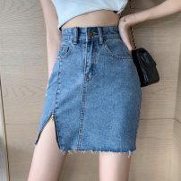skirt Summer 2021 S,M,L Blue, black Short skirt Versatile High waist Solid color 18-24 years old ZNCP7522 Other / other