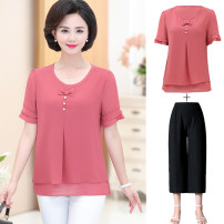 Middle aged and old women's wear Summer 2020 XL [recommended 90-104 kg], 2XL [recommended 105-120 kg], 3XL [recommended 121-130 kg], 4XL [recommended 131-145 kg], 5XL [recommended 145-155 kg] fashion suit easy singleton  other 50-59 years old Socket thin Crew neck routine pagoda sleeve Chiffon