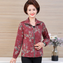 Middle aged and old women's wear Spring 2020 Decor 1, decor 2, decor 3, decor 4, decor 5, decor 6 XL,XXL,XXXL,4XL,5XL Happiness Jacket / jacket Self cultivation singleton  other 50-59 years old Cardigan moderate Polo collar Short (length 35-50cm) routine polyester zipper