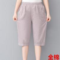 Middle aged and old women's wear Summer 2020 Gray, khaki, black, white, phyllite XL,XXL,XXXL,4XL fashion trousers easy singleton  other 50-59 years old thin routine cotton Trousers