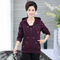 Middle aged and old women's wear Winter 2020, autumn 2020 fashion Jacket / jacket easy singleton  Broken flowers 40-49 years old Cardigan moderate Hood Medium length (length 50-70cm) routine Embroidery zipper