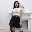 skirt Summer 2020 S,M,L,XL BLACK PLEATED SKIRT Short skirt street High waist Pleated skirt Solid color Type A 18-24 years old More than 95% other cotton Punk