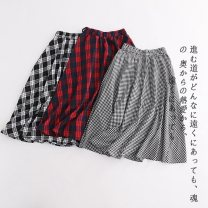 skirt Summer 2020 S,M,L,XL Red large a-16-16-2, black and white a-16-16-2, black large a-16-16-2, blue small a-16-16-2, blue white a-16-16-2, black and white small a-16-16-2 commute lattice Lady Boya printing Simplicity