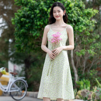 Dress Summer 2021 827 dress + Green cardigan, 827 dress S,M,L,XL Mid length dress Two piece set Sleeveless commute V-neck High waist Broken flowers Socket A-line skirt routine camisole 25-29 years old Type A Other / other Korean version printing XQG827 More than 95% other