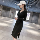 Dress Autumn 2020 Dark grey, black S,M,L,XL Mid length dress singleton  Long sleeves commute V-neck High waist Solid color Socket One pace skirt routine Others 25-29 years old Type H Korean version Stitching, stereo decoration, buttons 81% (inclusive) - 90% (inclusive) knitting cotton