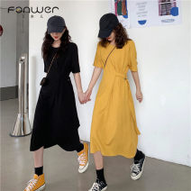 Dress Summer 2021 Yellow black Average size Mid length dress singleton  Short sleeve commute Crew neck High waist Solid color Socket One pace skirt routine Others 18-24 years old Type H Fan Weier Korean version 30115# More than 95% other other Other 100% Pure e-commerce (online only)