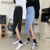 skirt Summer 2021 S M L XL Blue black Mid length dress commute Natural waist Type A 18-24 years old More than 95% Fan Weier other Korean version Other 100% Pure e-commerce (online only)
