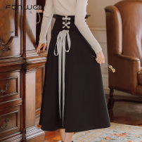 skirt Autumn 2020 S M L Red and black Mid length dress Sweet High waist Princess Dress Solid color Type A 18-24 years old More than 95% brocade Fan Weier other Bow fold lace up zipper stitching Other 100% Pure e-commerce (online only) solar system