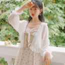 Lace / Chiffon Spring 2021 White apricot S M L Long sleeves Sweet Cardigan singleton  Straight cylinder have cash less than that is registered in the accounts Lotus leaf collar Solid color Lotus leaf sleeve 18-24 years old Fan Weier 3523-1 Bow and ruffle 51% (inclusive) - 70% (inclusive) Other 100%