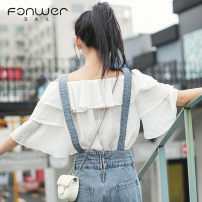 Jeans Spring 2021 Blue White Chiffon shirt S M L average code Ninth pants High waist rompers routine 18-24 years old Zipper button Multi Pocket other other light colour Fan Weier 96% and above Other 100% Pure e-commerce (online only)
