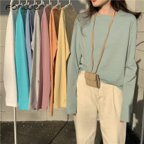 T-shirt Pink purple lake blue flower gray bean green fog blue white yellow orange Average size Spring 2021 Long sleeves Crew neck Self cultivation Regular commute cotton 51% (inclusive) - 70% (inclusive) 18-24 years old Korean version Solid color Fan Weier Cotton 51% others 49%