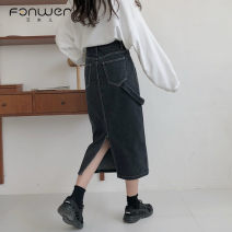 skirt Spring 2021 S M L XL Black dark blue Mid length dress Sweet High waist Denim skirt Type H 18-24 years old 5816-1 More than 95% Denim Fan Weier other Other 100% Pure e-commerce (online only) solar system