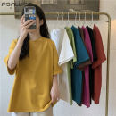 T-shirt Pitaya red kiwi green goose yellow scarlet White Black Lake Blue Brown Average size Summer 2021 three quarter sleeve Crew neck easy Regular routine commute other 96% and above 18-24 years old Korean version Fan Weier Other 100% Pure e-commerce (online only)