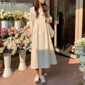 Dress Spring 2021 Apricot blue Average size Mid length dress singleton  Long sleeves Sweet High waist Solid color 18-24 years old Fan Weier More than 95% other Other 100% solar system Offline only (only offline o2o sales)