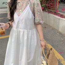 Dress Summer 2021 Apricot skirt white skirt Average size Mid length dress Two piece set Long sleeves commute Crew neck Loose waist Socket routine 18-24 years old Type A Fan Weier Retro More than 95% other other Other 100% Pure e-commerce (online only)
