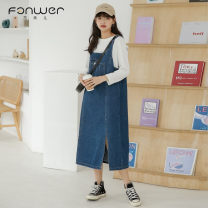 Dress Autumn 2020 Denim blue S M L Mid length dress singleton  Sweet Solid color straps 18-24 years old Type A Fan Weier Button 8357-1 More than 95% Denim other Other 100% solar system Pure e-commerce (online only)