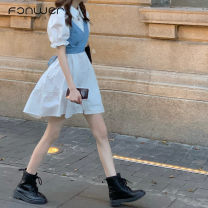 Dress Summer 2020 White shirt skirt + light blue denim sling blue shirt skirt + dark blue denim sling Average size Short skirt Two piece set Short sleeve Sweet Polo collar Loose waist Solid color Single breasted puff sleeve 18-24 years old Type A Fan Weier 520+8291-1 More than 95% other Other 100%