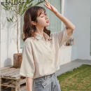 shirt Apricot S M L Summer 2020 other 96% and above Short sleeve Sweet Regular Polo collar Single row multi button routine Solid color 18-24 years old Self cultivation Fan Weier 9707-3 Other 100% Pure e-commerce (online only) solar system