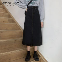 skirt Spring 2021 S M L XL Black grey blue Mid length dress Sweet High waist A-line skirt Solid color Type A 18-24 years old 6009-1 More than 95% Denim Fan Weier other Other 100% Pure e-commerce (online only) solar system