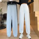 Casual pants Grey white black M L XL Spring 2021 trousers Wide leg pants High waist commute routine 18-24 years old 30% and below S318 Fan Weier cotton Korean version Bandage cotton Other 100% Pure e-commerce (online only)