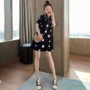 Dress Summer 2020 black S,M,L,XL Middle-skirt singleton  Short sleeve commute Polo collar Loose waist Decor One pace skirt routine Type H Korean version printing
