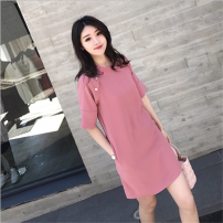 Dress Summer 2021 Lotus root Pink S,M,L,XL Middle-skirt singleton  elbow sleeve commute Crew neck Elastic waist Solid color Socket One pace skirt routine Others Type H lady 81% (inclusive) - 90% (inclusive)